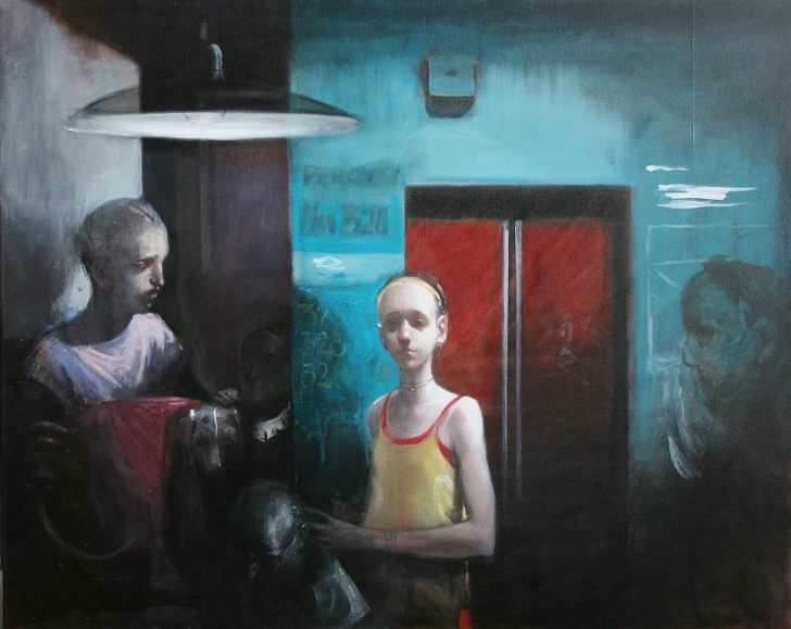 Andreas Wachter, Aufzug, 80x100 cm, 2010, Mischtechnik auf Leinwand