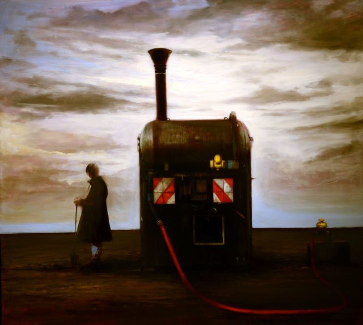 Andreas Wachter, Biogasanlage, 111x121,5 cm, 2014, Mischtechnik auf MdF