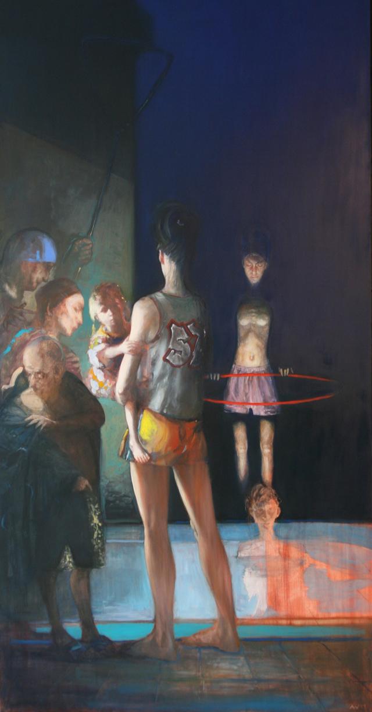 Andreas Wachter, Das Pool, 208x107,5 cm, 2011, Mischtechnik auf Leinwand