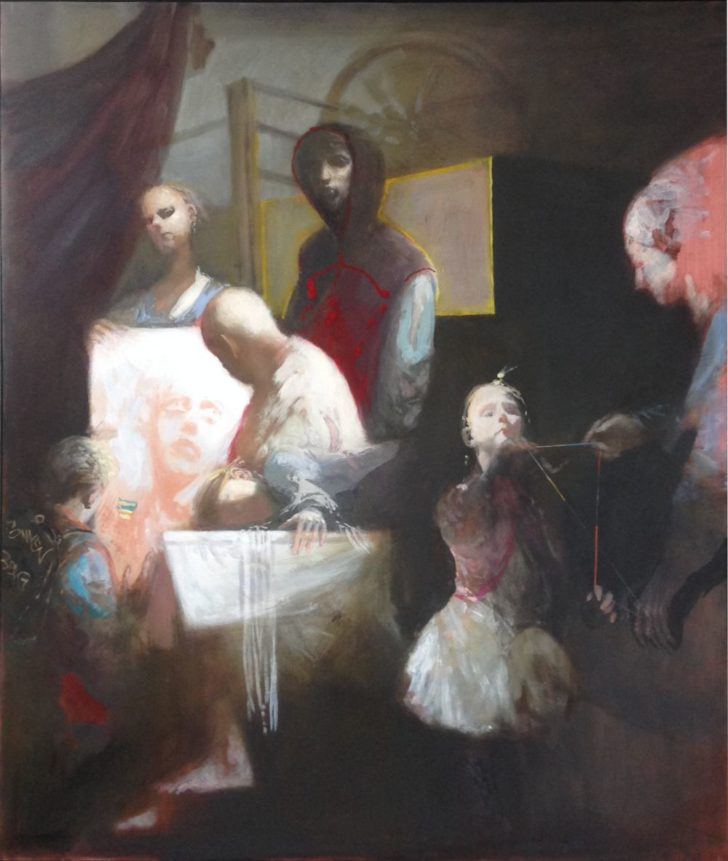 Andreas Wachter, Die Mangel, 130x110 cm, 2015, Mischtechnik auf MdF