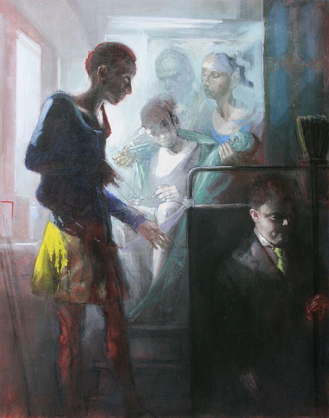 Andreas Wachter, Die Wache, 100x80 cm, 2010, Mischtechnik auf Leinwand
