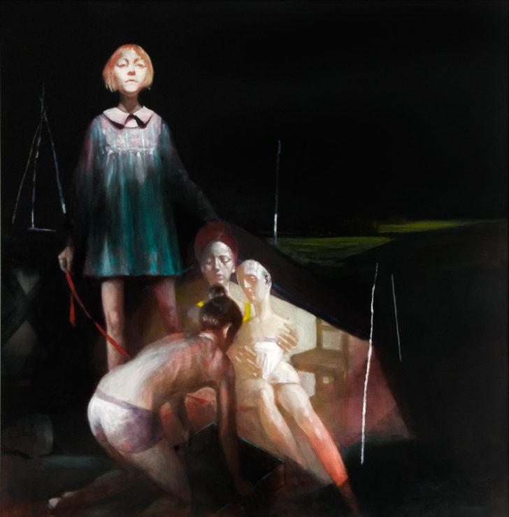 Andreas Wachter, Graben, 140x137 cm, 2012, Mischtechnik auf MdF