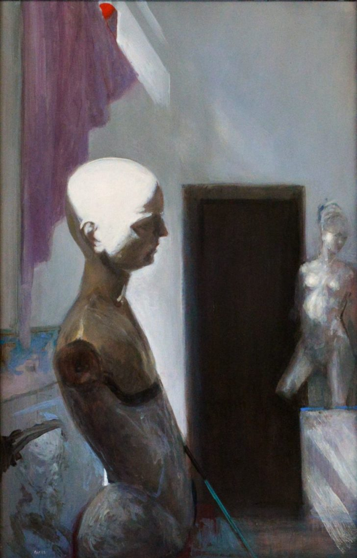 Andreas Wachter, Im Atelier, 57x37 cm, 2013, Mischtechnik auf Hartfaser