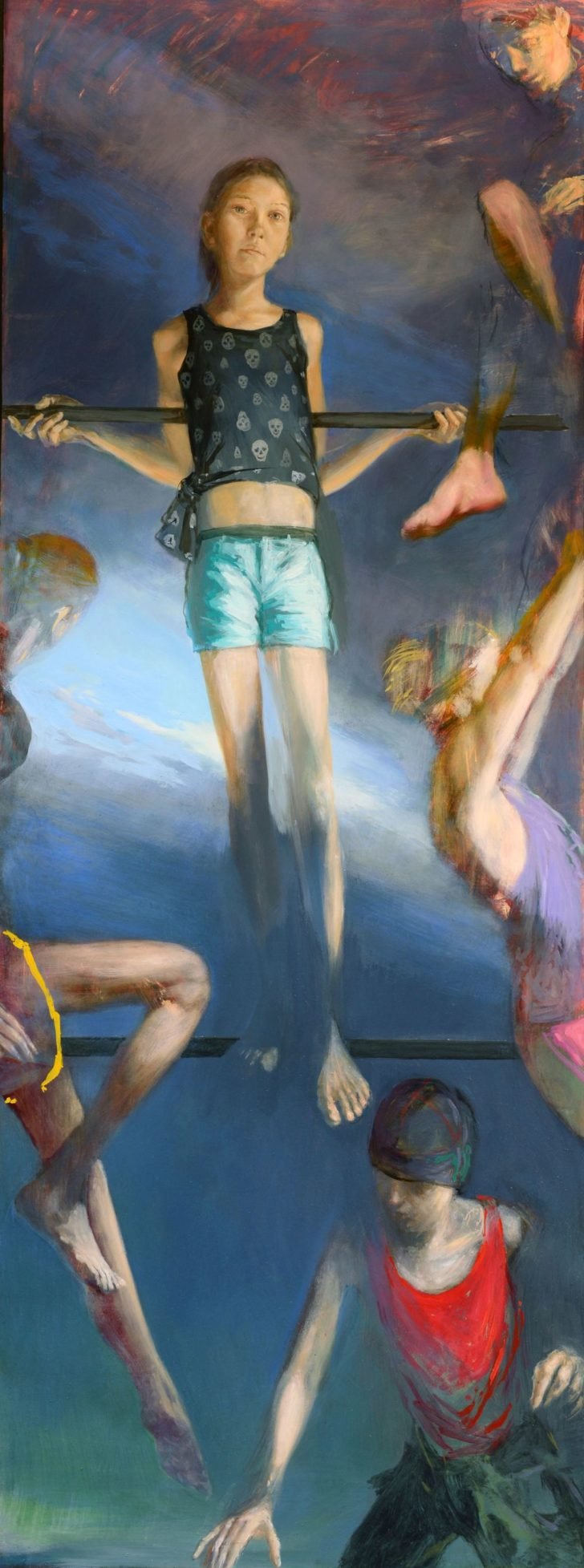 Andreas Wachter, Klettergerüst, 190,5x71,5 cm, 2014, Mischtechnik auf Hartfaser