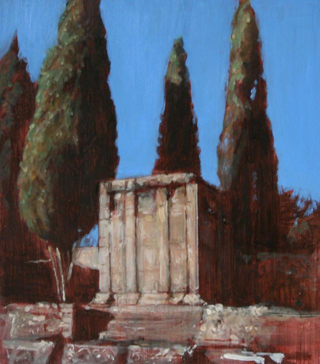 Andreas Wachter, Pompeij II, 20x15 cm, 2011, Mischtechnik auf MdF