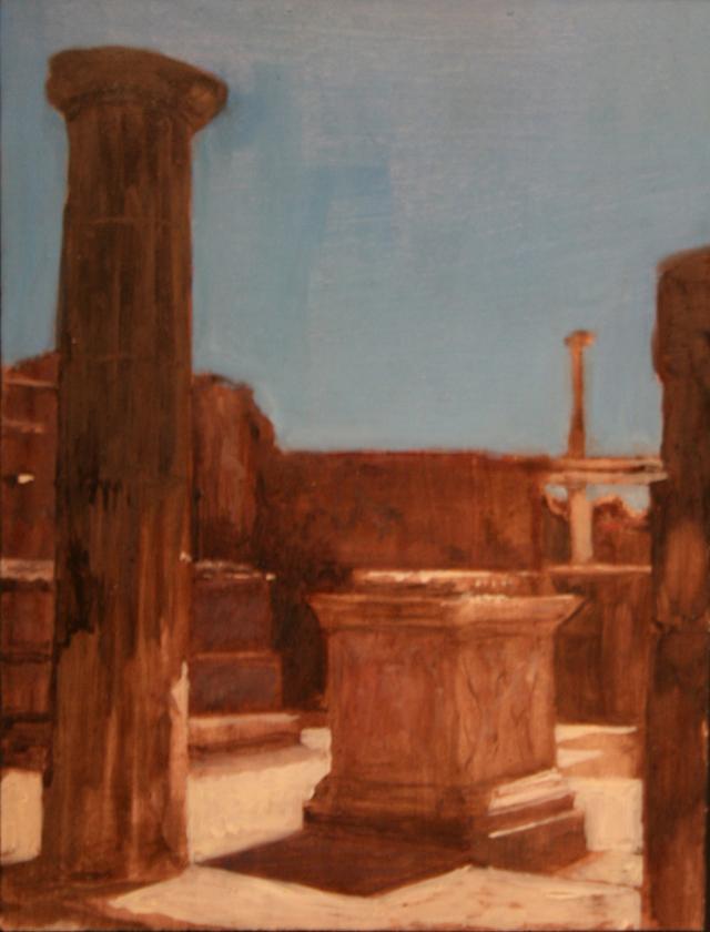 Andreas Wachter, Pompeij I, 20x18 cm, 2011, Mischtechnik auf MdF