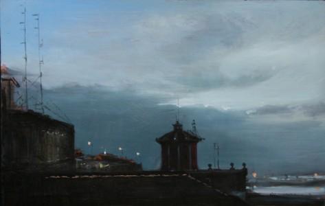 Andreas Wachter, Piazza Roma, 15x23 cm, 2011, Mischtechnik auf MdF