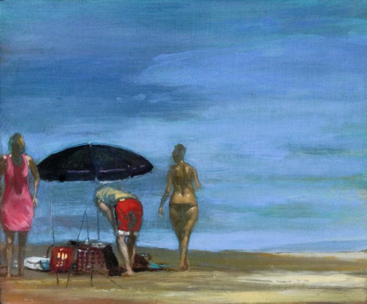 Andreas Wachter, Strand, 25x30 cm, 2012, Mischtechnik auf MDF