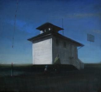 Andreas Wachter, Strandhaus, 43,5x48 cm, 2010, Mischtechnik auf MdF
