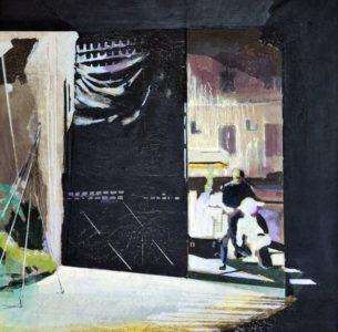 Christiane Wachter, Einfahrt, 89x91 cm, 2015, Collage auf Papier auf Leinwand
