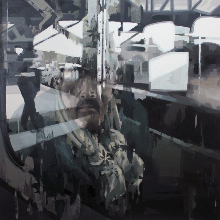 Franz Ehrenberg, Station, 150x150cm, 2012, Öl auf Leinwand