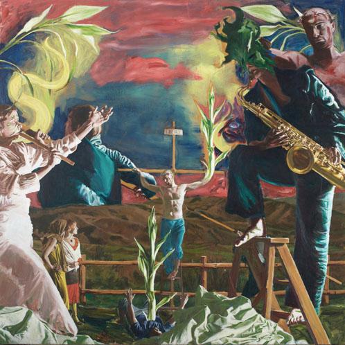 Martin Ziegler, Spiesser Christ Reich (Kreuzigung), 200x200 cm, 2011, Acryl auf Leinwand