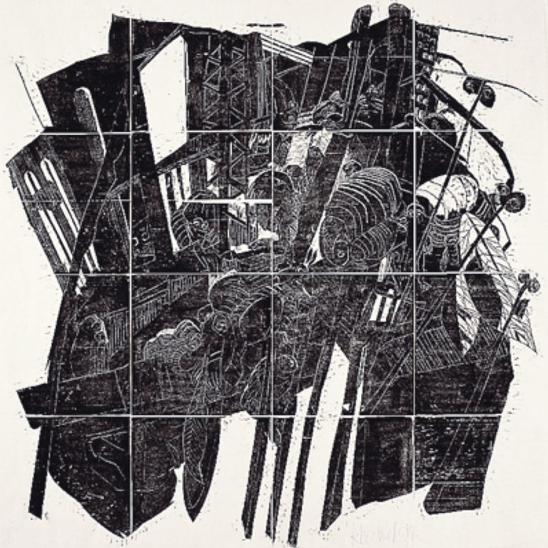 Stefan Knechtel, Spiel 2, 72x72 cm, 1995, Holzschnitt
