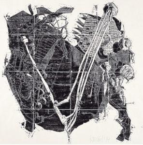 Stefan Knechtel, Spiel, 72x72 cm, 1995, Holzschnitt
