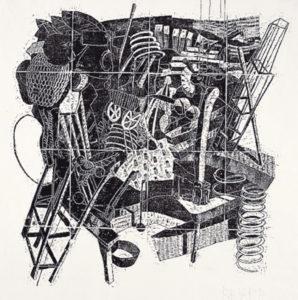 Stefan Knechtel, Spiel 3, 72x72 cm, 1995, Holzschnitt