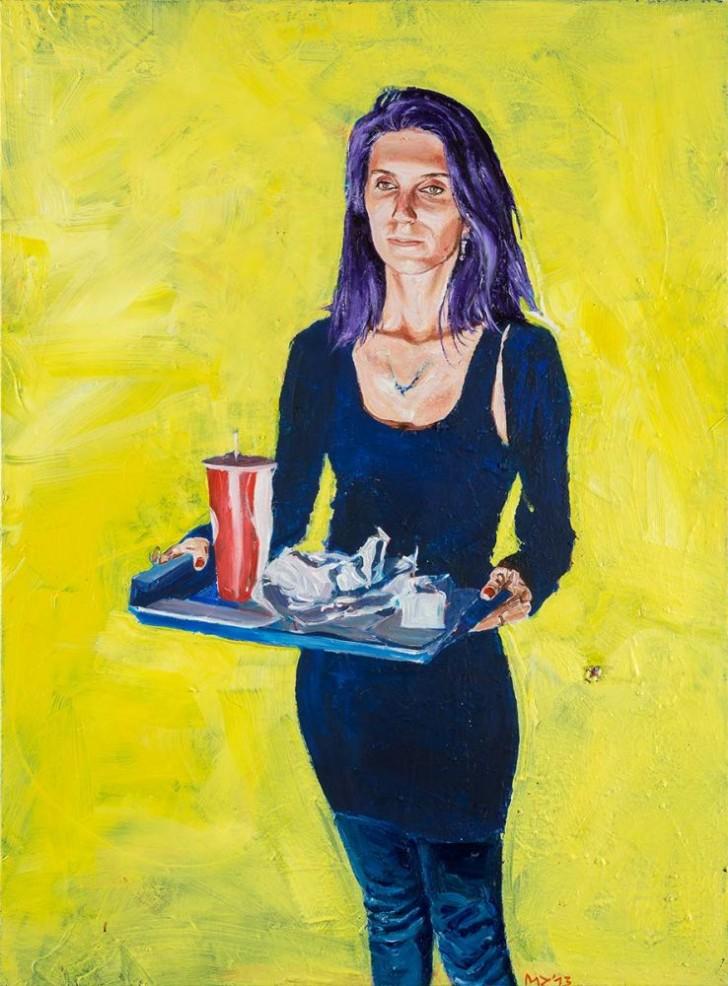 Martin Ziegler, Frau mit Tablett, 135x100 cm, 2013, Acryl auf Leinwand
