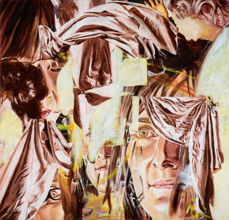 Martin Ziegler, Gesicht und Vorhänge, 130x135 cm, 2013, Acryl auf Leinwand