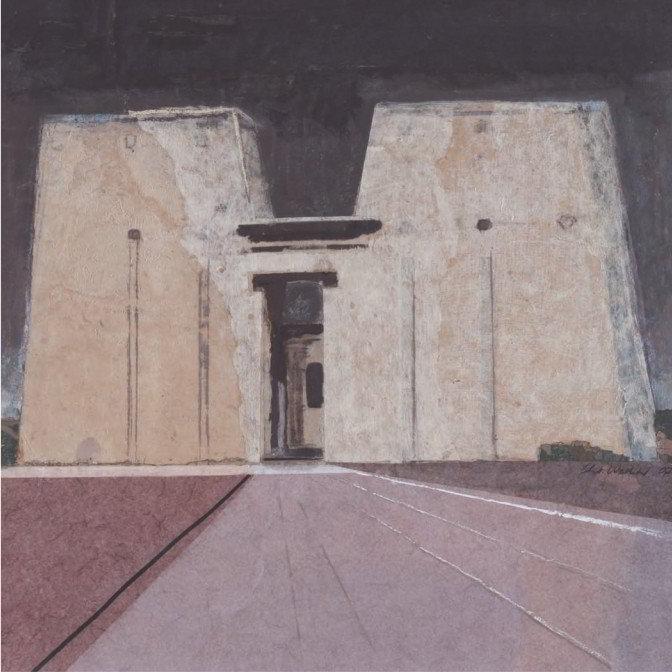 Christiane Wachter, Edfu Horustempel, 51x51 cm, 2007, Collage auf Papier