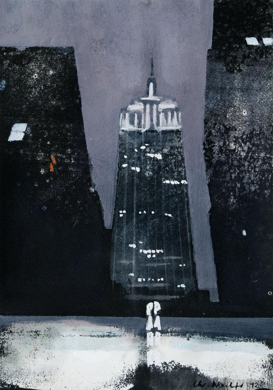 Christiane Wachter, Empire State Building, 30x21 cm, 2012, Mischtechnik auf Papier