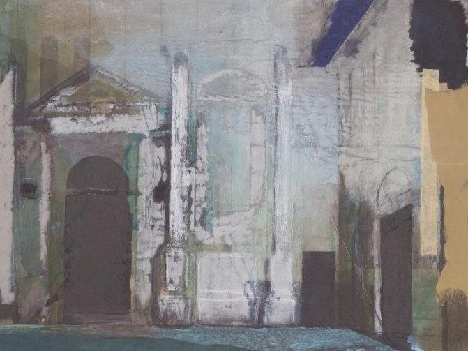 Christiane Wachter, Fassade, 42x53 cm, 2008, Collage auf Papier