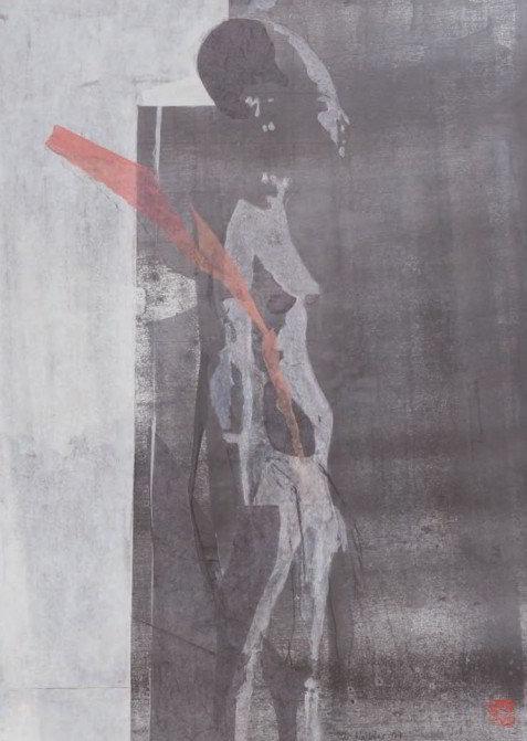 Christiane Wachter, Figur, 75,5x54,5 cm, 2009, Collage auf Papier