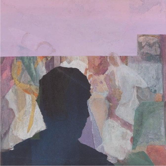 Christiane Wachter, Gegenlicht, 52,5x52,5 cm, 2009, Collage auf Holz