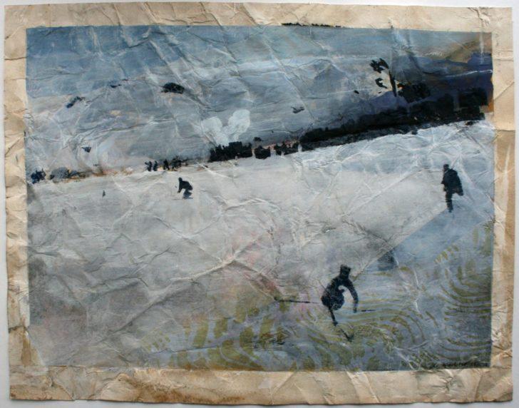 Christiane Wachter, Idiotenwiese, 48x62 cm, 2014, Mischtechnik auf Papier