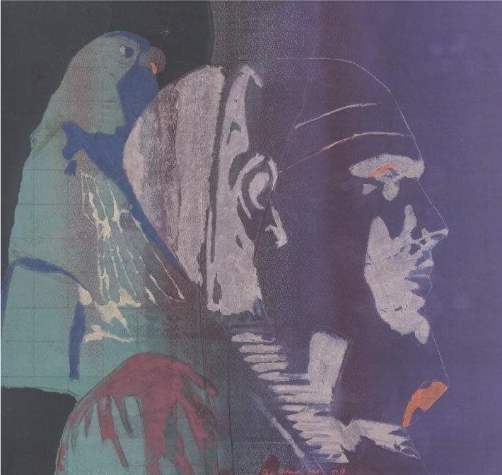Christiane Wachter, König Chephren, 52x55 cm, 2009, Collage auf Papier
