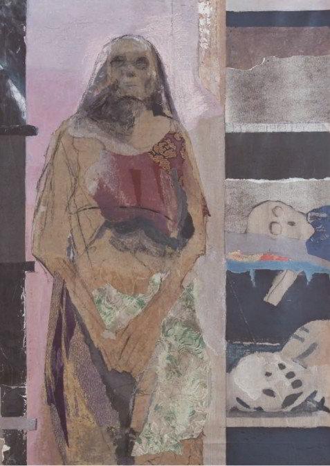 Christiane Wachter, Kapuziner II, 119x84 cm, 2009, Collage auf Leinwand