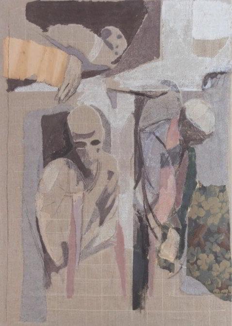 Christiane Wachter, Kapuziner I, 119x84 cm, 2009, Collage auf Leinwand