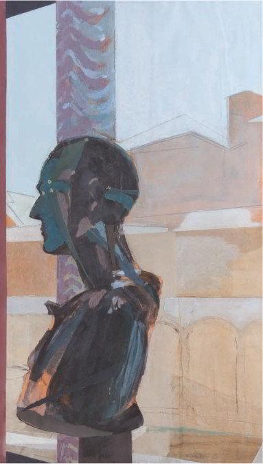 Christiane Wachter, Kopf, 117x70 cm, 2009, Collage auf Papier
