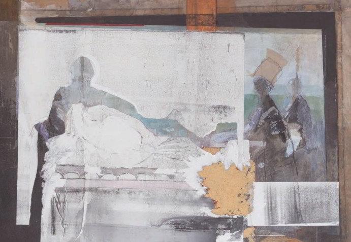 Christiane Wachter, Lager, 69x100,5 cm, 2009, Collage auf Hartfaser