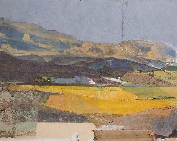 Christiane Wachter, Landschaft (Ausschnitt), 78x200 cm, 2008, Collage auf Tischlerplatte