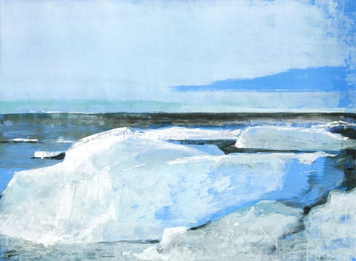 Christiane Wachter, Landschaft mit Bergen, 70x100 cm, 2012, Mischtechnik auf Papier