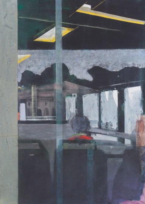 Christiane Wachter, Linie, 119x85 cm, 2009, Collage auf Papier