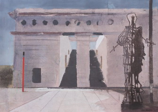Christiane Wachter, Monument, 54x73 cm, 2009, Collage auf Papier
