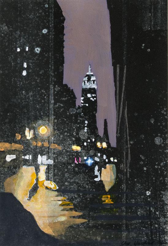 Christiane Wachter, Nachts, 30x21 cm, 2012, Mischtechnik auf Papier