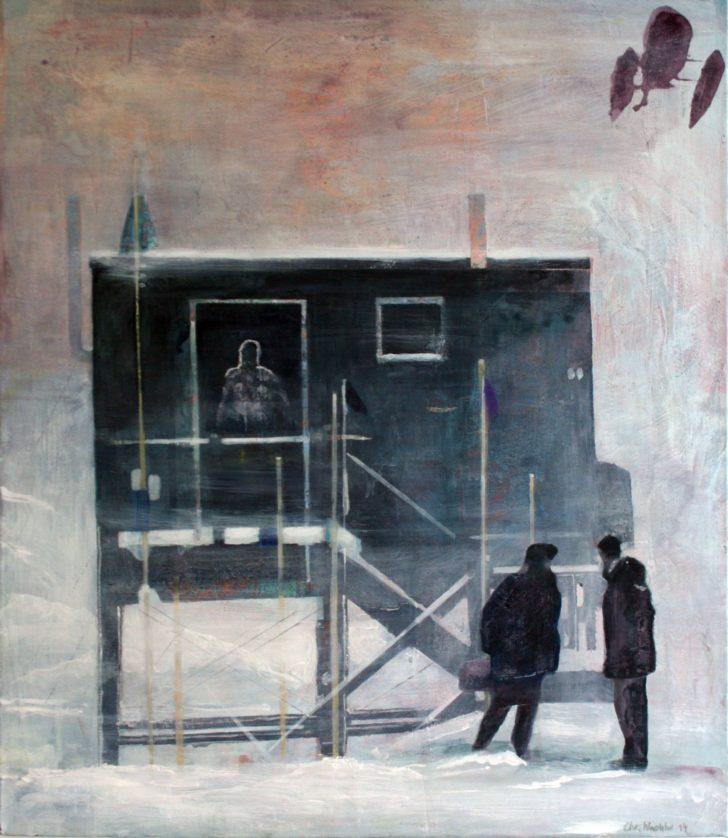 Christiane Wachter, Station, 70x60 cm, 2014, Mischtechnik auf Leinwand