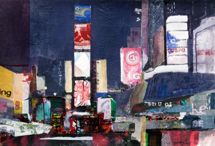 Christiane Wachter, Timesquare II, 20x29,5 cm, 2012, Mischtechnik auf Papier