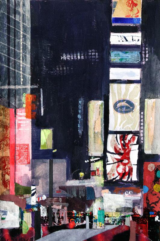 Christiane Wachter, Timesquare I, 29,5x20 cm, 2012, Mischtechnik auf Papier