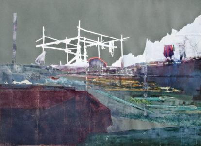 Christiane Wachter, Ummannaq II, 70x100 cm, 2012, Mischtechnik auf Papier