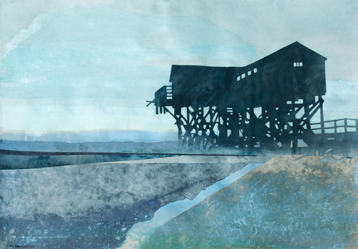 Christiane Wachter, Vor der Flut, 70x100 cm, 2012, Mischtechnik auf Papier