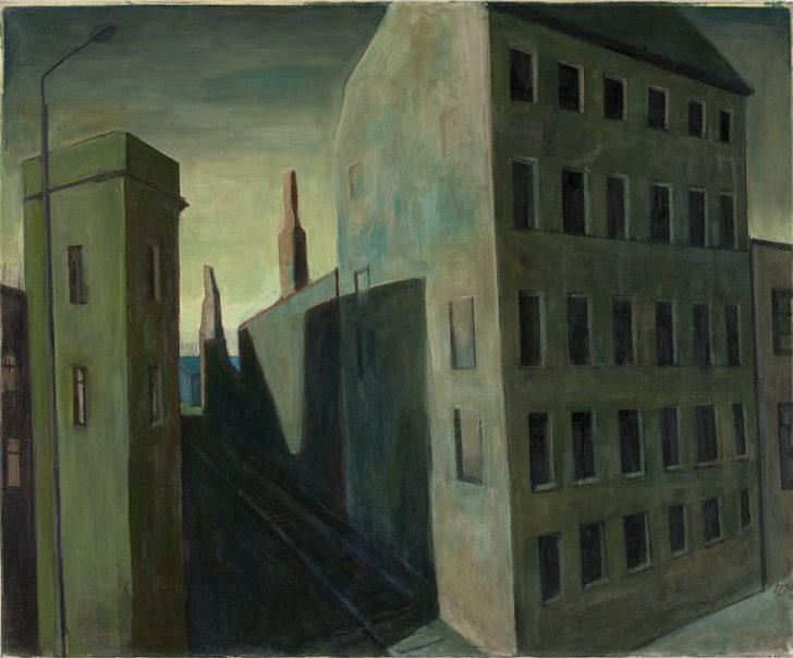 Doris Ziegler, Abschied von Plagwitz, 90,5x110,5 cm, 1994, Mischtechnik auf Leinwand