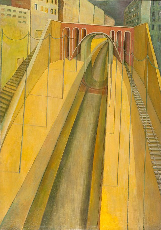 Doris Ziegler, Brücke in Plagwitz III, 200x140 cm, 2000, Mischtechnik auf Leinwand