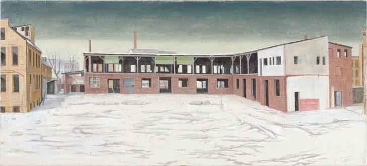 Doris Ziegler, Fabrikhof im Schnee, 90x200 cm, 2010, Mischtechnik auf Leinwand