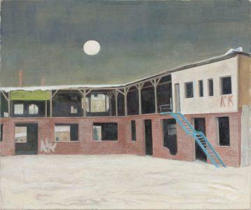 Doris Ziegler, Fabrikhof mit Mond, 75x88 cm, 2010, Mischtechnik auf Leinwand