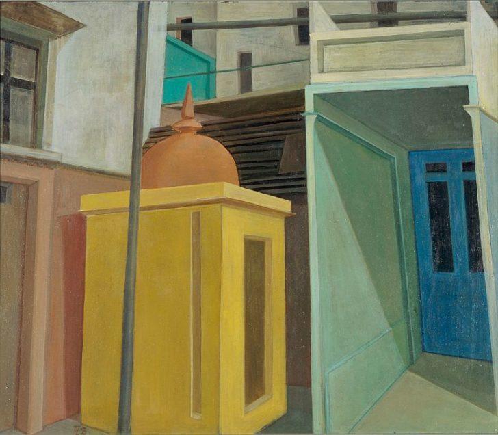 Doris Ziegler, Kleiner Tempel, 60,5x70,5 cm, 2003, Mischtechnik auf Leinwand