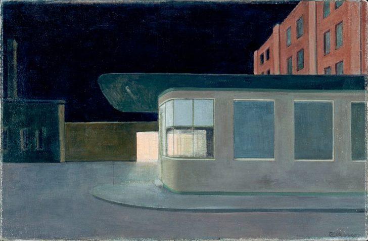 Doris Ziegler, Pförtnerhäuschen nachts, 39x59 cm, 2006, Mischtechnik auf Leinwand