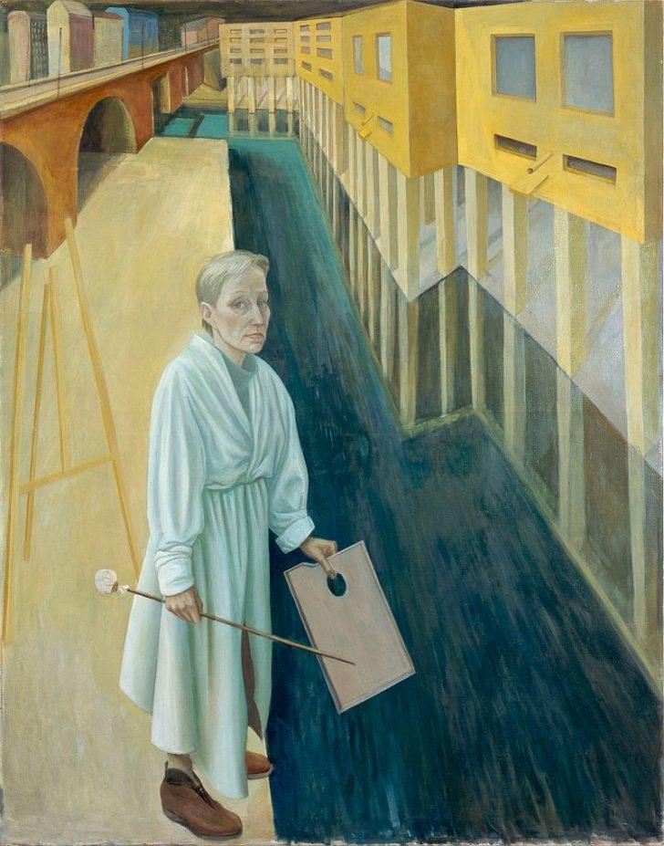 Doris Ziegler, Selbst am Kanal, 190x150 cm, 2001, Mischtechnik auf Leinwand