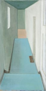 Doris Ziegler, Treppe hinab, 50x25 cm, 2009, Mischtechnik auf Leinwand